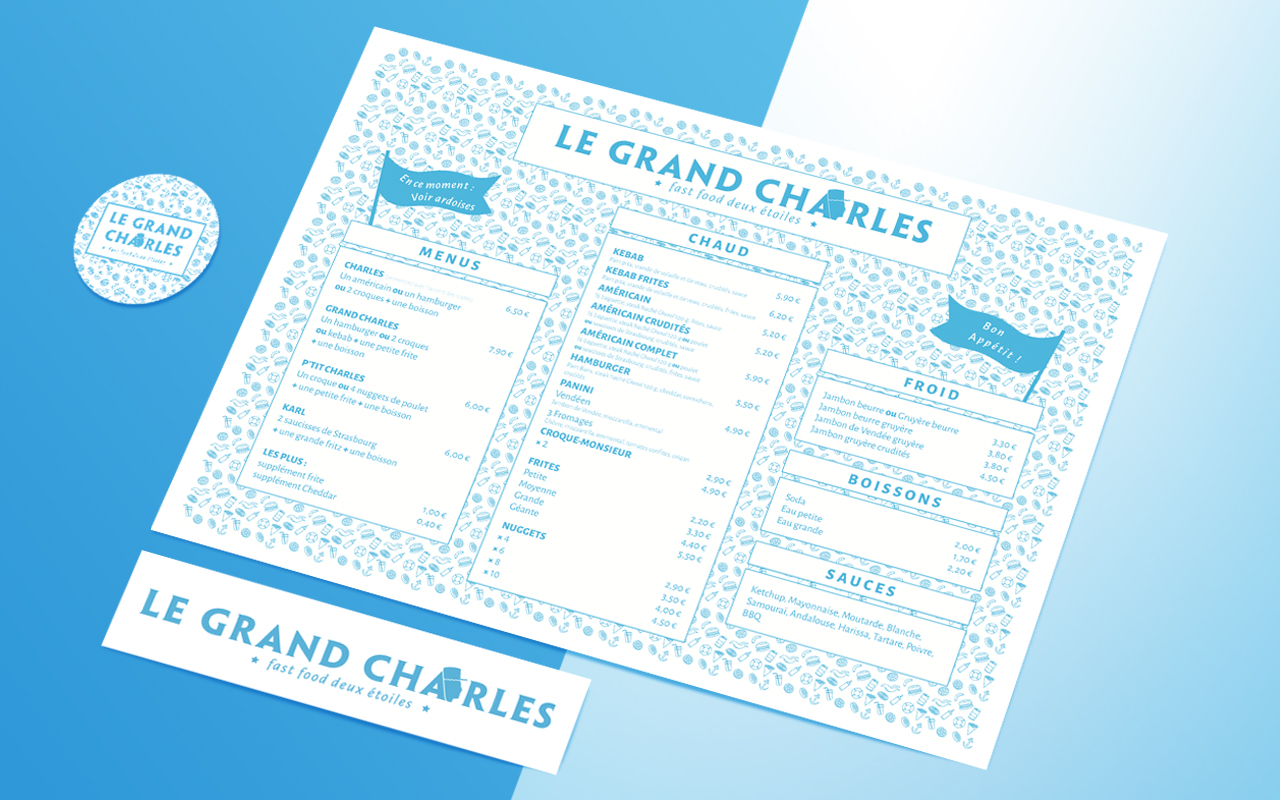 Menu et éléments de communication Louis Schäfer graphisme — Nantes  Le Grand Charles